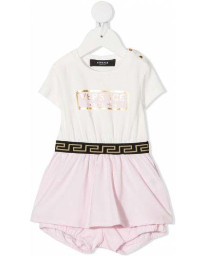 Różowa sukienka bawełniana z printem Young Versace