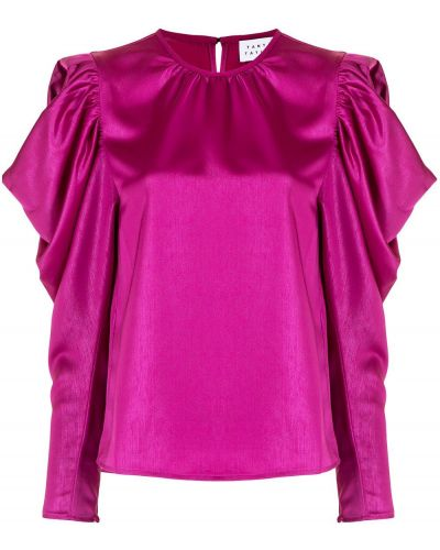 Открытая с рукавами розовая блузка Tanya Taylor