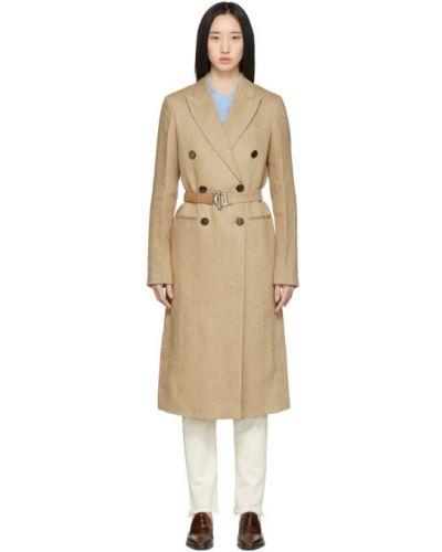 Длинное пальто бежевое без воротника Victoria Beckham