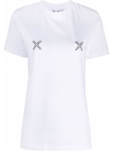 Прямая белая футболка с вырезом Kenzo