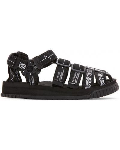 Czarny sandały na paskach rzep okrągły nos Neighborhood