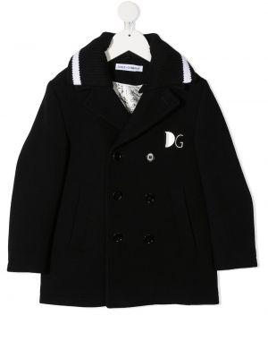 Черное кашемировое длинное пальто двубортное Dolce & Gabbana Kids