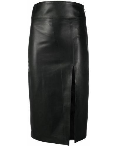 Прямая черная кожаная юбка карандаш Manokhi