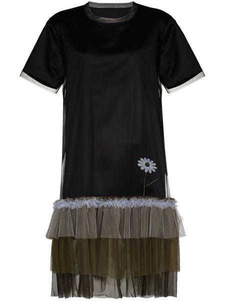 Черное платье мини из фатина с вышивкой с вырезом Viktor & Rolf