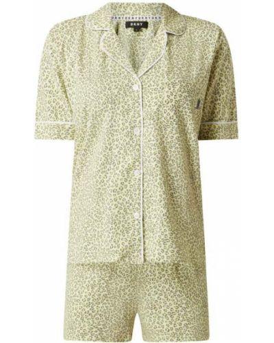 Żółta piżamy z szortami bawełniana krótki rękaw Dkny