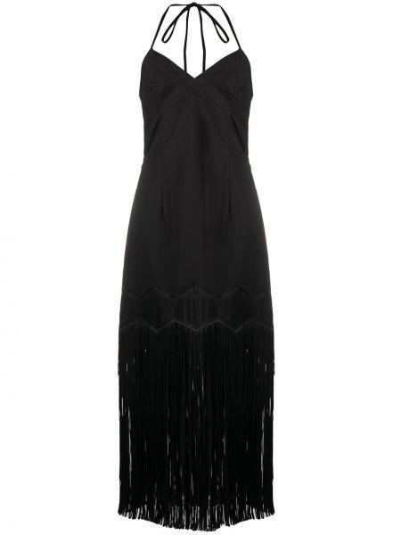 Черное платье миди без рукавов с бахромой Paskal