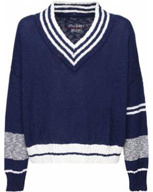 Niebieski sweter z haftem bawełniany Handle With Freedom