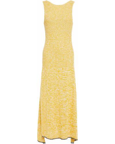Желтое открытое платье миди с открытой спиной Joseph