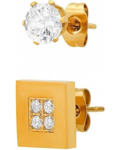 Серые серьги-гвоздики с бриллиантом круглые Anthony Jacobs