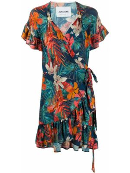 Оранжевое с рукавами платье мини с запахом Ava Adore