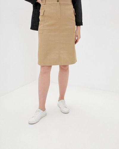 Бежевая прямая юбка карандаш Am One