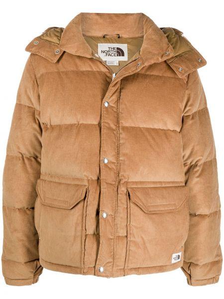 Brązowa długa kurtka z kapturem bawełniana The North Face