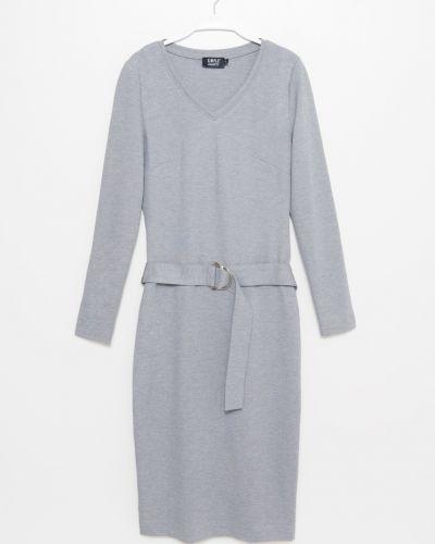 Платье миди с V-образным вырезом с длинными рукавами Simple
