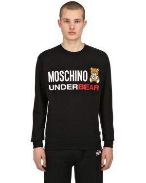 Prążkowana czarna bluza bawełniana Moschino Underwear