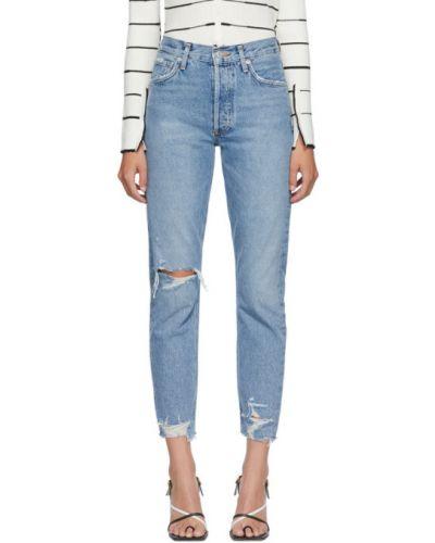 Серебряные джинсы классические с манжетами стрейч до середины колена Agolde