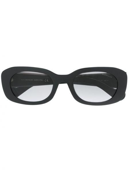 Прямые муслиновые черные солнцезащитные очки круглые Moncler Eyewear