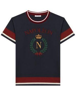 Синяя хлопковая футболка с вышивкой круглая Dolce & Gabbana