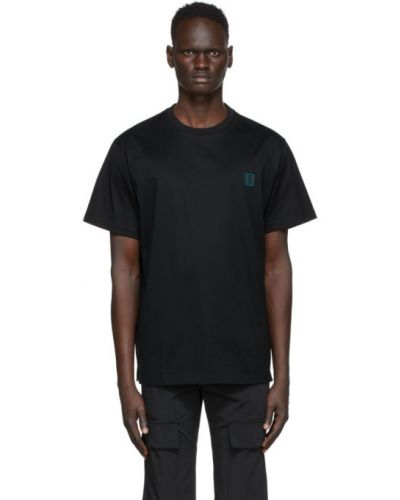 Черная рубашка с коротким рукавом с воротником с заплатками с короткими рукавами Wooyoungmi