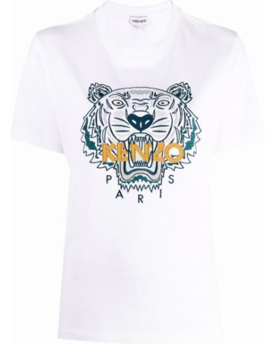 Белая футболка короткая Kenzo