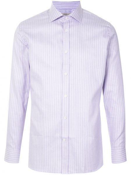 Klasyczna koszula bawełniana w paski z długimi rękawami Gieves & Hawkes