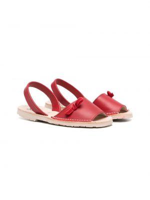 Красные кожаные сандалии с бантом Douuod Kids