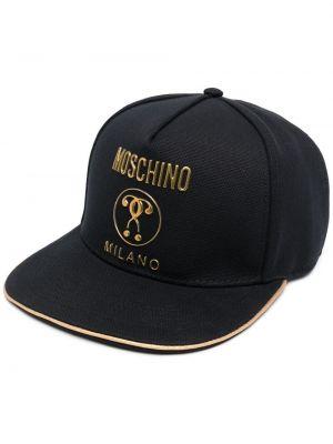 Золотистая хлопковая черная кепка Moschino