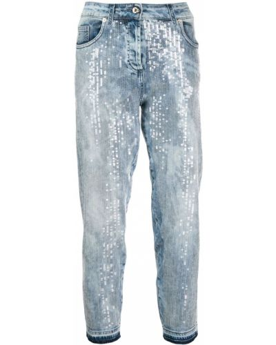 Укороченные джинсы с вышивкой стрейч в стиле бохо Blumarine