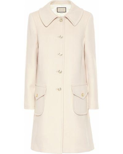 Белое шерстяное пальто Gucci