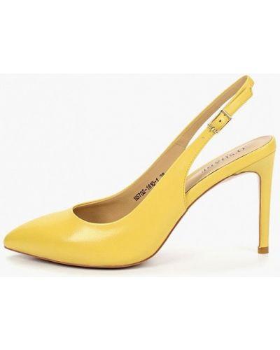 Туфли на каблуке кожаные с открытой пяткой O`shade