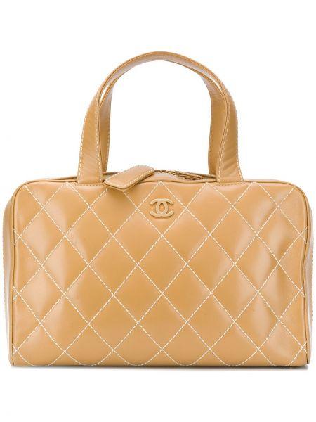 Кожаная золотистая стеганая сумка-тоут на молнии Chanel Pre-owned