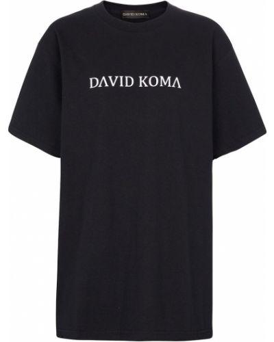 Ватная хлопковая черная футболка David Koma