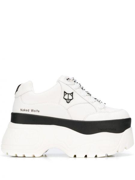 Sneakersy na platformie skórzane białe Naked Wolfe