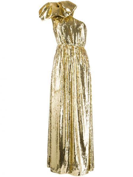 Prążkowana złota sukienka wieczorowa z haftem N°21