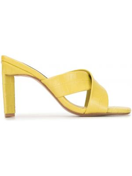 Желтые кожаные мюли на каблуке Senso