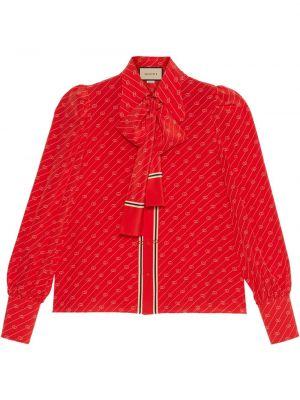 Koszula z jedwabiu z printem Gucci