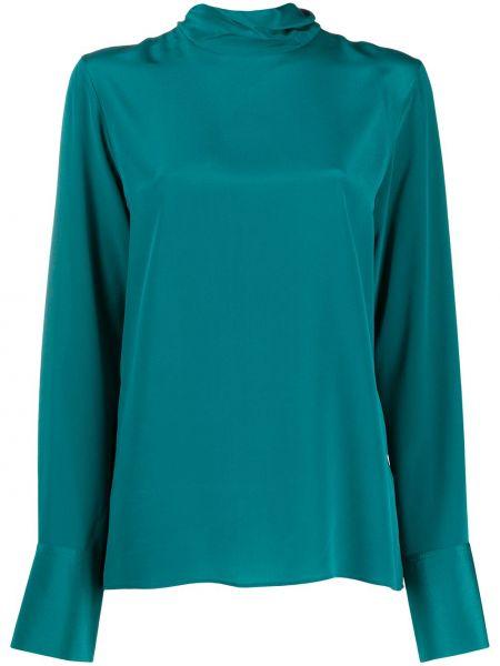 Зеленая шелковая блузка с воротником Joseph