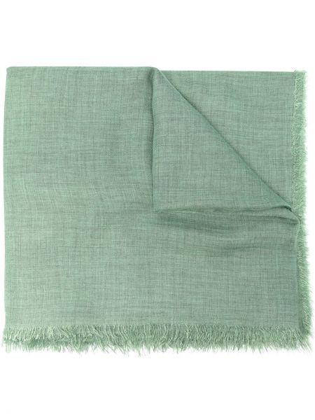 Зеленый кашемировый шарф с бахромой Faliero Sarti
