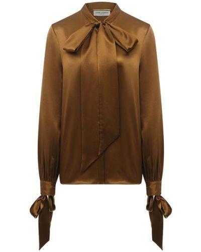 Коричневая шелковая блузка Saint Laurent