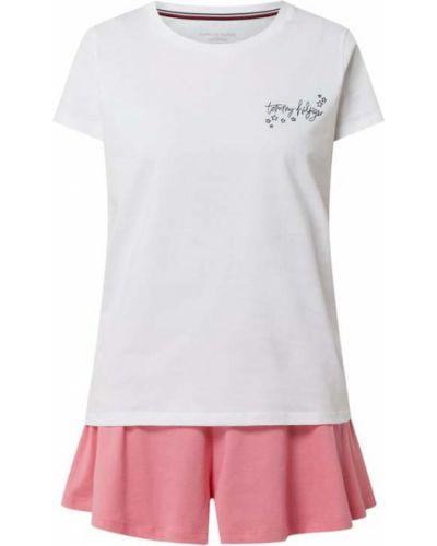 Różowa piżamy z szortami bawełniana krótki rękaw Tommy Hilfiger
