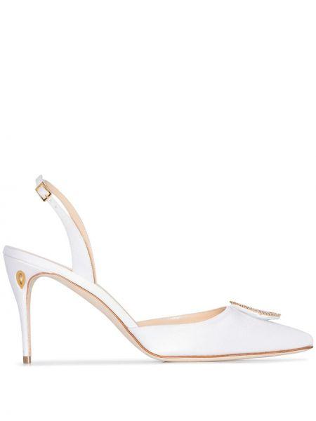 Открытые золотистые белые кожаные туфли с открытой пяткой Jennifer Chamandi