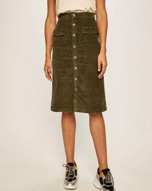 Расклешенная джинсовая юбка с поясом в рубчик на пуговицах Pepe Jeans