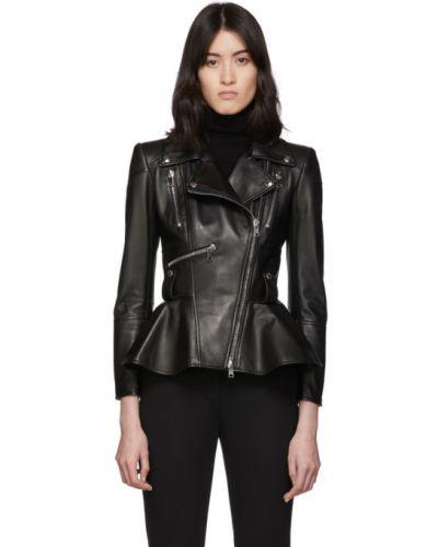 Кожаная куртка черная длинная Alexander Mcqueen