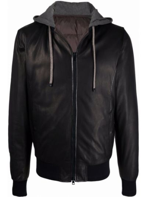 Кожаная куртка с капюшоном - коричневая Barba