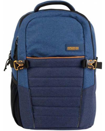 Niebieski plecak na laptopa w paski American Tourister