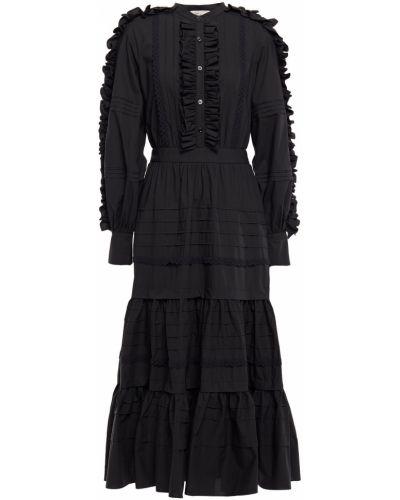Хлопковое черное платье миди на пуговицах Temperley London