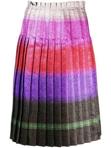 Розовая с завышенной талией юбка миди с люрексом в рубчик Marco De Vincenzo