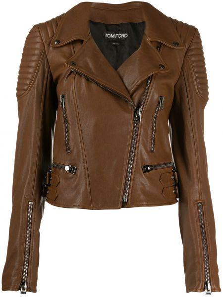 Стеганая кожаная короткая куртка на молнии Tom Ford