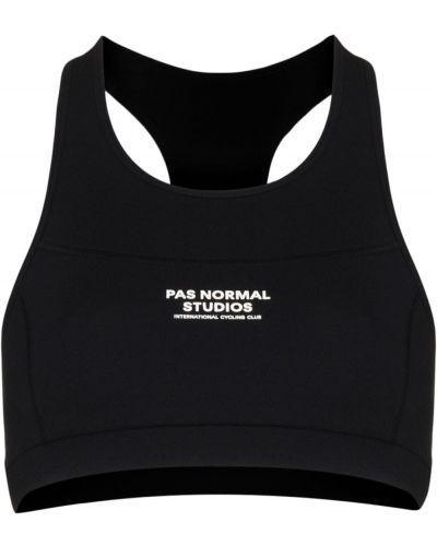 Czarny biustonosz sportowy bez rękawów z printem Pas Normal Studios