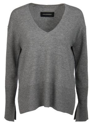 С рукавами шерстяной серый свитер с V-образным вырезом By Malene Birger