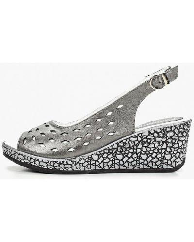 Босоножки на каблуке серый Shoiberg